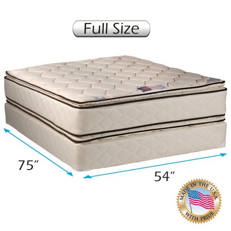 Coil Comfort Pillow Top Mattress And Box Spring Set  Full  Double Sided Sleep System With Enhanced Cushion Support  Fully Assembled  Great For Your Back  Longlasting Comfort  By Dream Solutions Usa