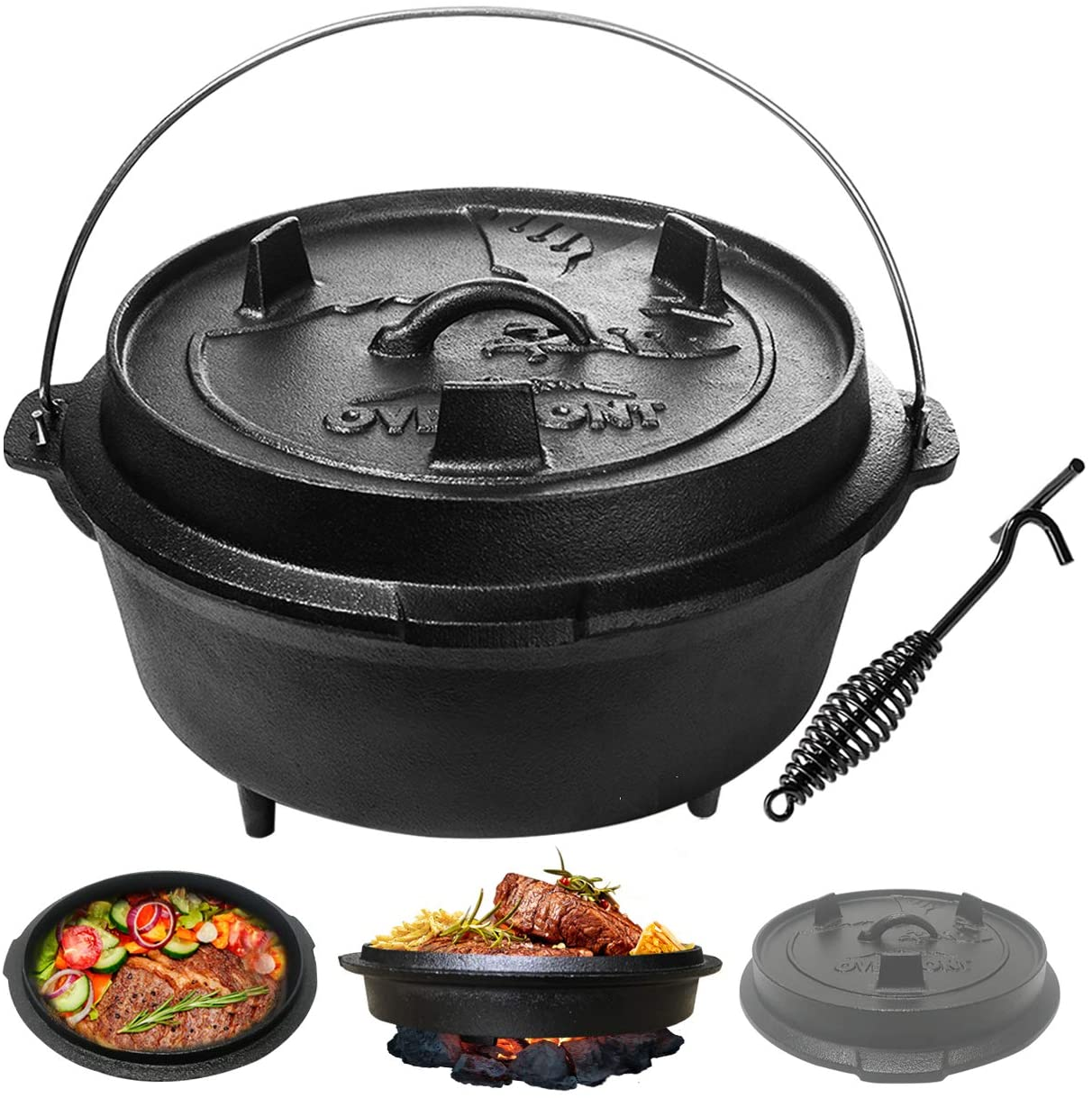 Overmont Camp Double Dutch Oven 8qt Pot Lid All Round Cast Iron Casserole Pot Dual Function Lid Skillet Pre Seasoned With Lid Lifter Handle For Camping Cooking Bbq Baking Walmart Com Walmart Com