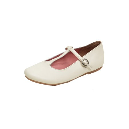Pazitos Girls Ivory T-Strap Buckle Closure Trendy Casual - Girls Ivory Flats