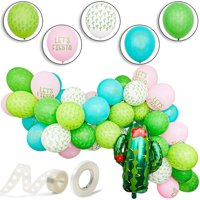 """50-Pack Let's Fiesta! Cactus Latex Balloons 12"""" for Mexican Fiesta, Cinco de Mayo, Summer Hawaii Theme Party Decorations, Ribbon Included"""