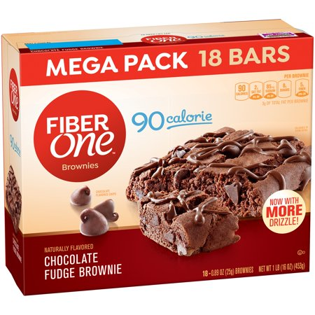 Fiber One  90 Calorie Brownie Chocolate Fudge Mega Pack 18   0 89 Oz Brownies