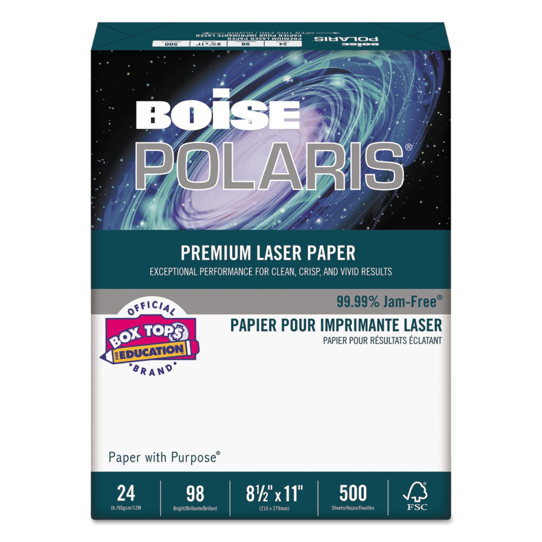 Boise POLARIS Premium Laser Paper, 98 Bright, 24lb, 8 1 2 x 11, White, 500 SHeets by CASCADES