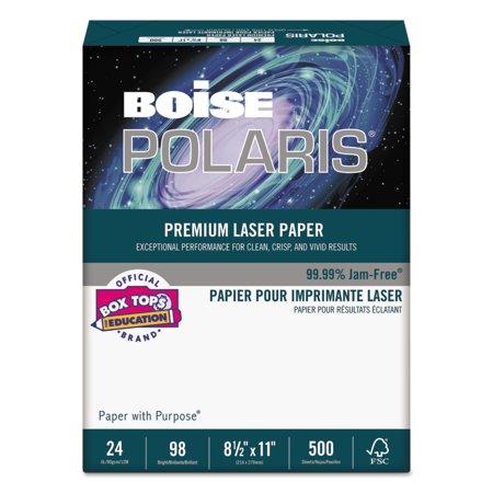 Boise POLARIS Premium Laser Paper, 98 Bright, 24lb, 8 1/2 x 11, White, 500 Sheets -CASBPL0211