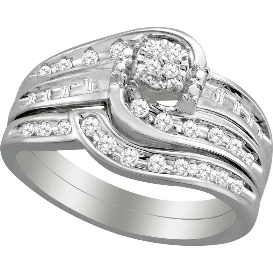 Forever Bride 1/3 Carat T.W. Diamond 10K White Gold Round Bypass Bridal Set