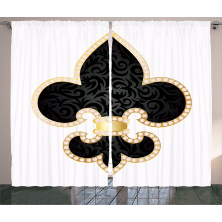 Fleur De Lis Decor Curtains 2 Panels Set, Royal Legend Lily Throne Of France Empire Family Insignia Of Knights Image, Living Room Bedroom Accessories, By Ambesonne - Nouveau Lily Window Windows