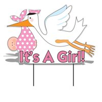 """It's a Girl"" Die Cut Stork, Baby Announcement Yard Sign (Light Skin Toned Baby) Includes Ez Stakes"