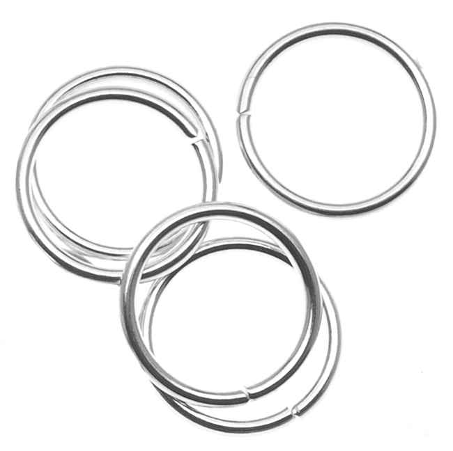 10mm Open Jump Rings 18 Gauge- Silver Plated (50)