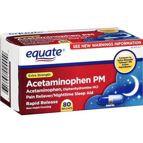 Equate: Pain Reliever PM Extra Strength Gelcaps Nighttime Sleep Aid/Pain Reliever, 80 ct