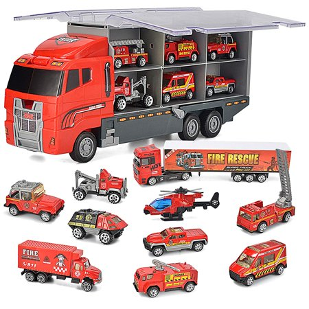 10 in 1 Die-cast Fire Engine Vehicle Mini Rescue Emergency Fire Truck Toy Set in Carrier -