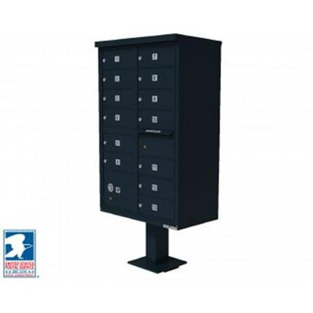 QualArc CBU-13-BL 72 x 42 x 30 in. 1570 12 Door Cluster Box Unit for Tall Pedestal Stucco Columns, Black 1570 Cluster Box Unit