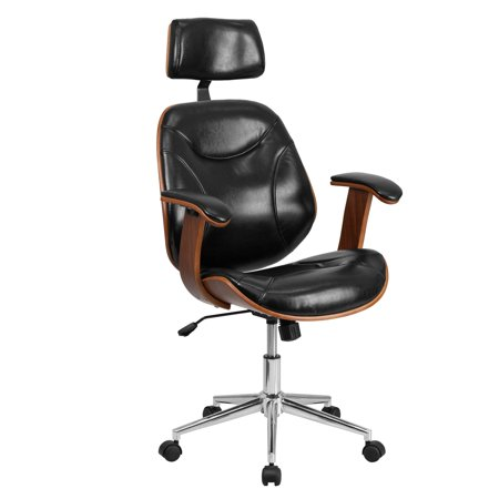Flash Furniture High Back Black Leather Executive Wood Swivel Office Chair