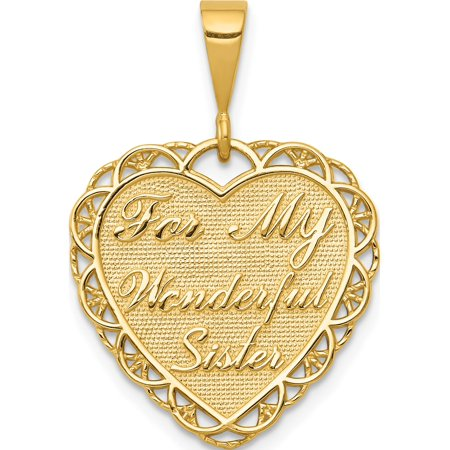14k Yellow Gold For My Wonderful Sister (19x28mm) Pendant / Charm - image 1 of 1