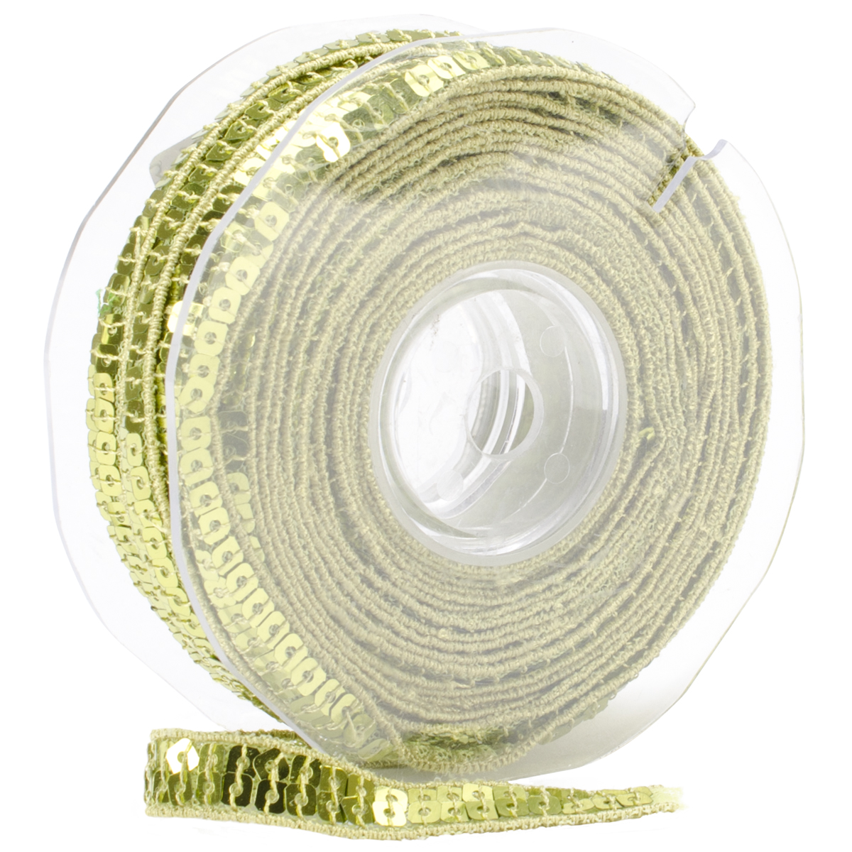 Square Sequin Trim 10mm X 15.95 Yards-Lime Green