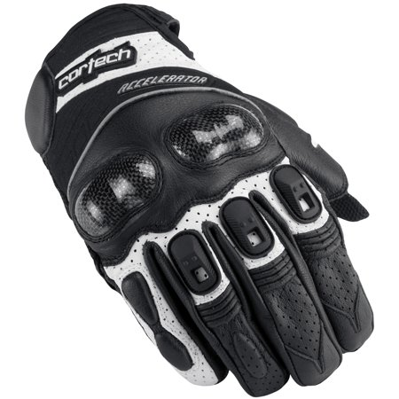 Cortech Accelerator Series 3 Leather Motorcycle Gloves Black/White (Cortech Motorcycle Gloves)