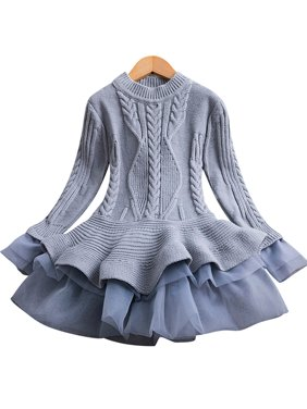 KidPika Toddler Kid Baby Girls Knitted Sweater Dress Long Sleeve Casual Party Tutu Dress