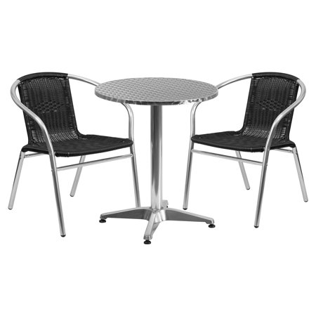 Flash Furniture 23.5\'\' Round Aluminum Indoor-Outdoor Table with 2 Rattan  Chairs, Multiple Colors