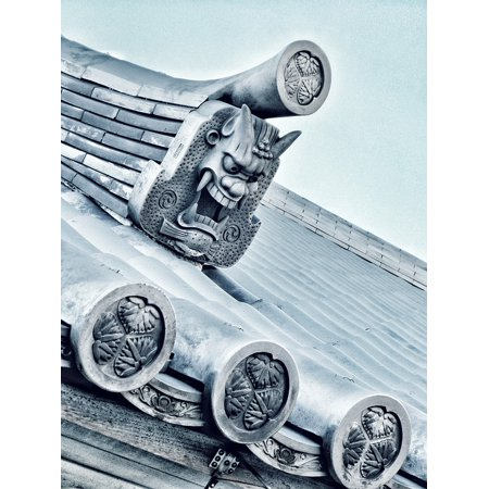 Canvas Print Japanese Tiles Japan Traditional Roof Sculpture Stretched Canvas 10 x 14