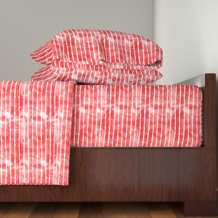Stripes Red Distressed 4Th Of July 100% Cotton Sateen Sheet Set by