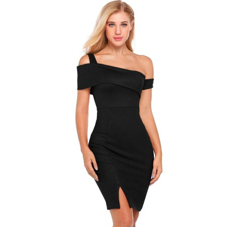 - Women Sexy Sleeveless Solid One Shoulder Evening Bodycon Club Pencil Dress HFON
