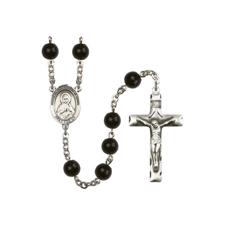 Heart Rosary Crucifix (Immaculate Heart of Mary Silver-Plated Rosary 7mm Black Onyx Beads Crucifix Size 1 3/4 x 1 medal charm)