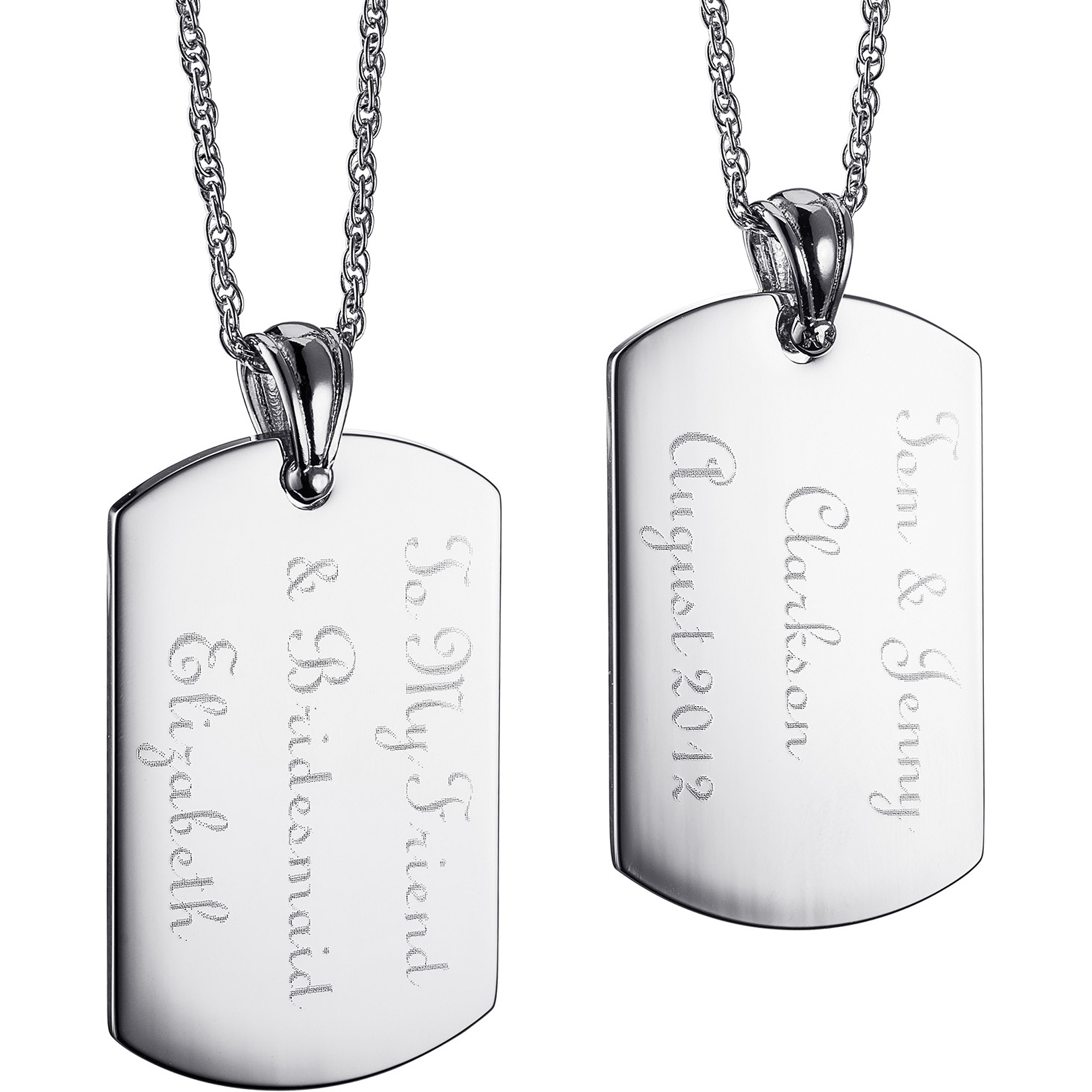 Personalized Women's Silver-Tone Engraved 2-Sided Message Tag Pendant