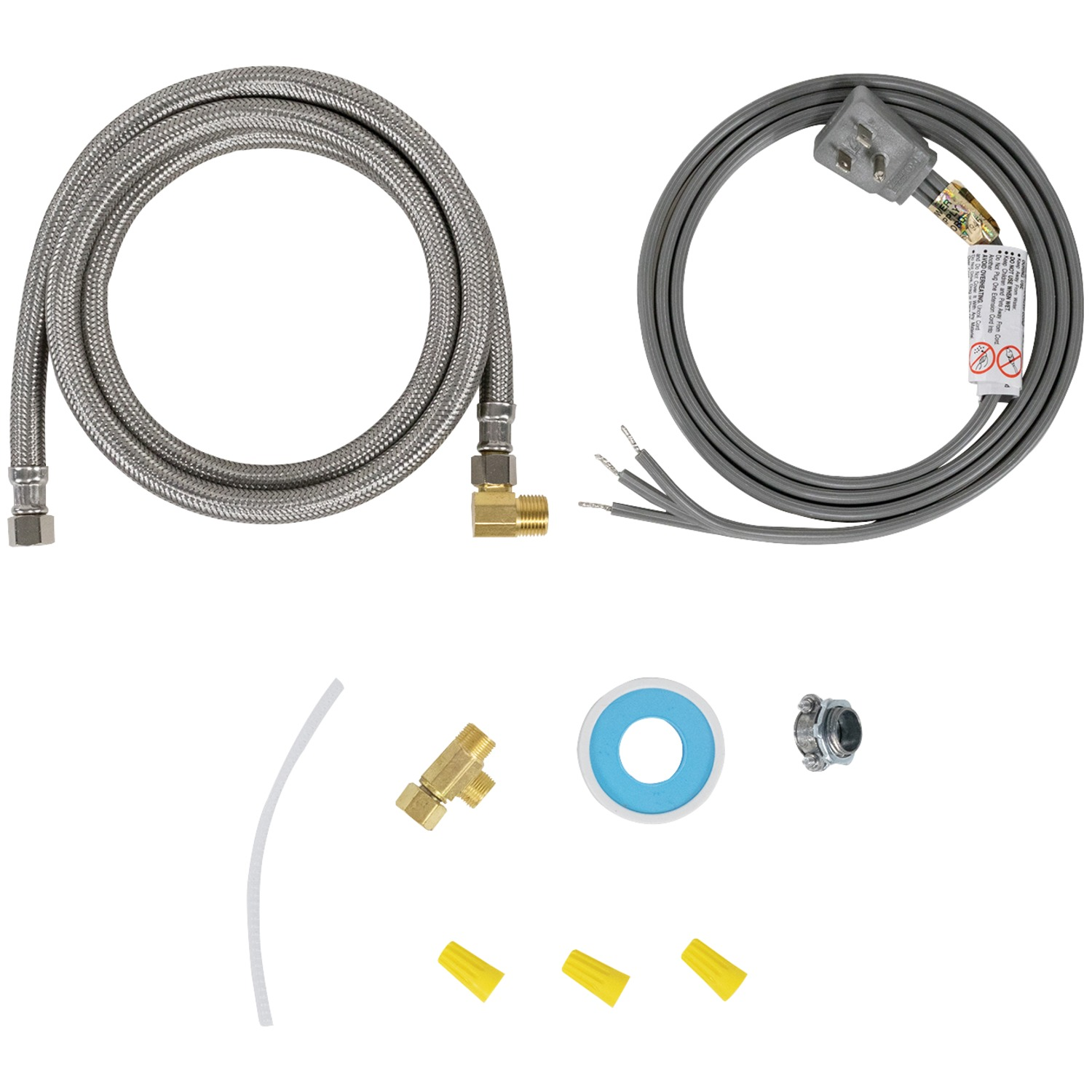 Certified Appliance Accessories 77805 Braided Stainless Steel Dishwasher Installation Kit, 6ft