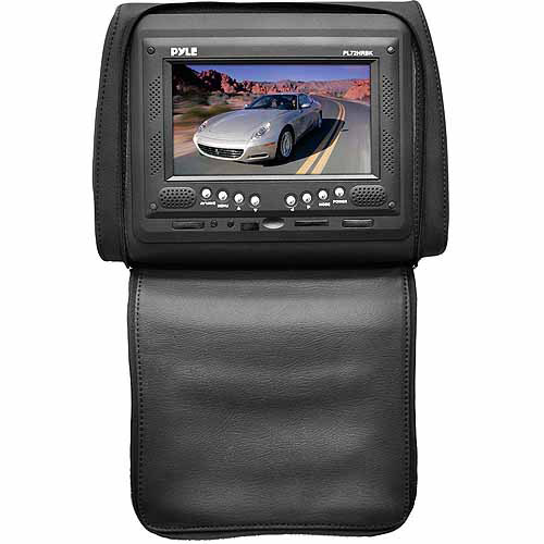 "Pyle Audio PL72HRBK Adjustable Single Headrest with Built-In 7"" TFT/LCD Monitor with IR Transmitter and Cover, Black"