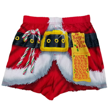 Mens Red Santa Claus Naughty Nice List Christmas Holiday Costume Boxer Shorts (State Farm Costume)