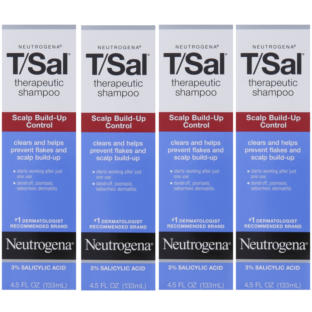 4 Pack Neutrogena T/Sal Therapeutic Maximum Strength Shampoo 4.50 oz Each
