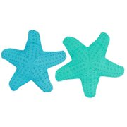 Blue and Teal Embroidered Starfish Shaped 18 Inch Accent Pillows Set of 2