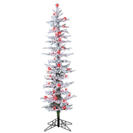6' Pre-Lit White Snow Flocked Green Pine Artificial Christmas Tree - Red Lights - Walmart.com