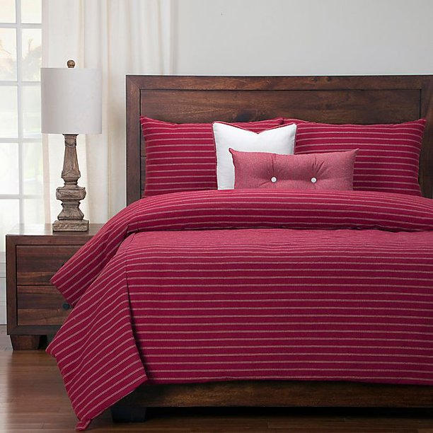 Siscovers Modern Farmhouse Queen Duvet Cover Set In Red Beige Walmart Com Walmart Com