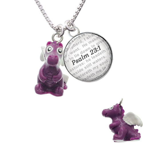 Resin Purple Dragon Darling - Bible Verse Psalm 23:1 Glass Dome Necklace