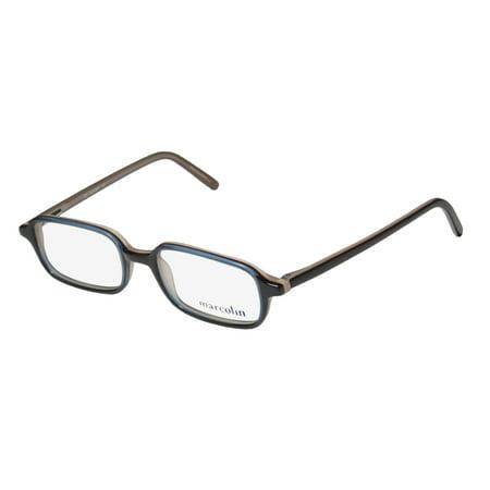 New Marcolin 771 Mens/Womens Designer Full-Rim Navy / Brown / Taupe Casual Modern Color Combination Frame Demo Lenses 48-18-135 Spring Hinges Eyeglasses/Eye Glasses