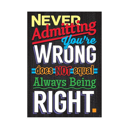 Never Admitting You're Wrong Poster (1 Piece), 13.38