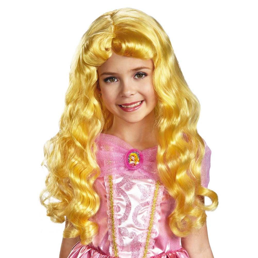 Disney Princess Girls Long Blonde Aurora Wig Sleeping Beauty