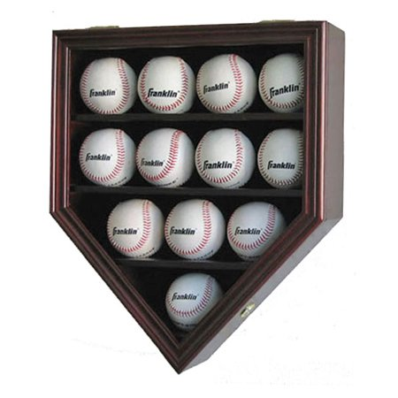 Mahogany Pine Cabinet (12 Baseball Display Case Wall Cabinet Shadow Box, UV Protection Door, Mahogany)