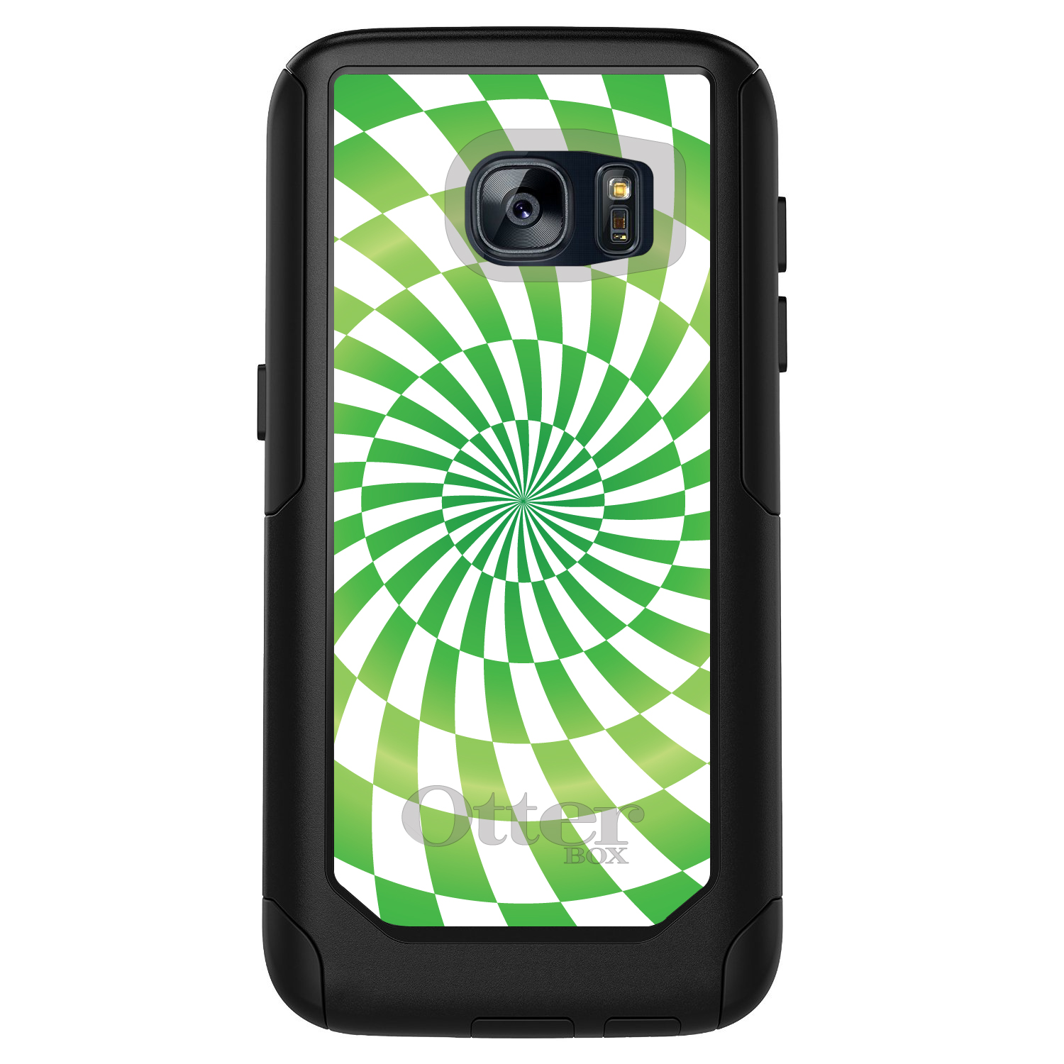 DistinctInk™ Custom Black OtterBox Commuter Series Case for Samsung Galaxy S7 - Green White Swirl Geometric