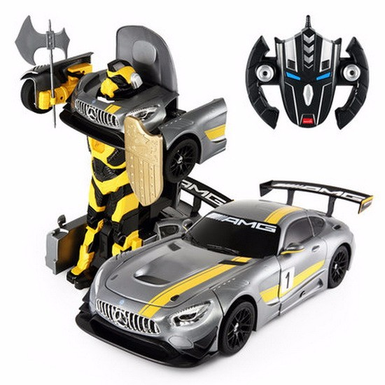 2.4Ghz Radio Remote Control 1 14 Mercedes-AMG GT3 Transformers Robot Model RC Car (Grey) by