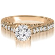 0.63 cttw. 14K Rose Gold Milgrain Cathedral Round Cut Diamond Engagement Ring (I1, H-I)