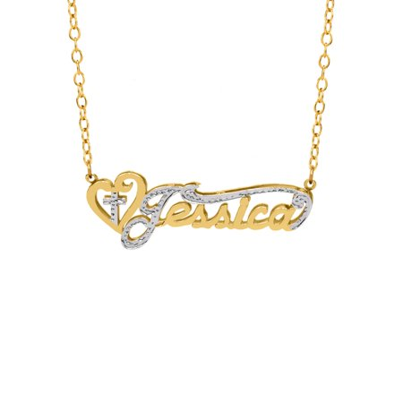Personalized Sterling Silver, Gold Plated, 10K or 14K Religious Nameplate Necklace with Heart and Cross with an 18 inch Link Chain - Heart And Cross Necklace