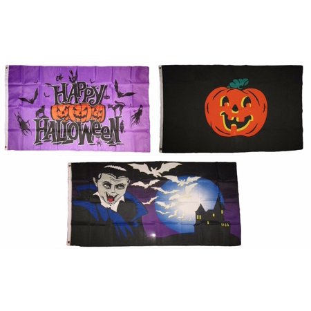 Halloween 1 2 3 (3x5 Happy Halloween 3 Pack Flag Wholesale Set #123 Combo 3'x5' Banner)