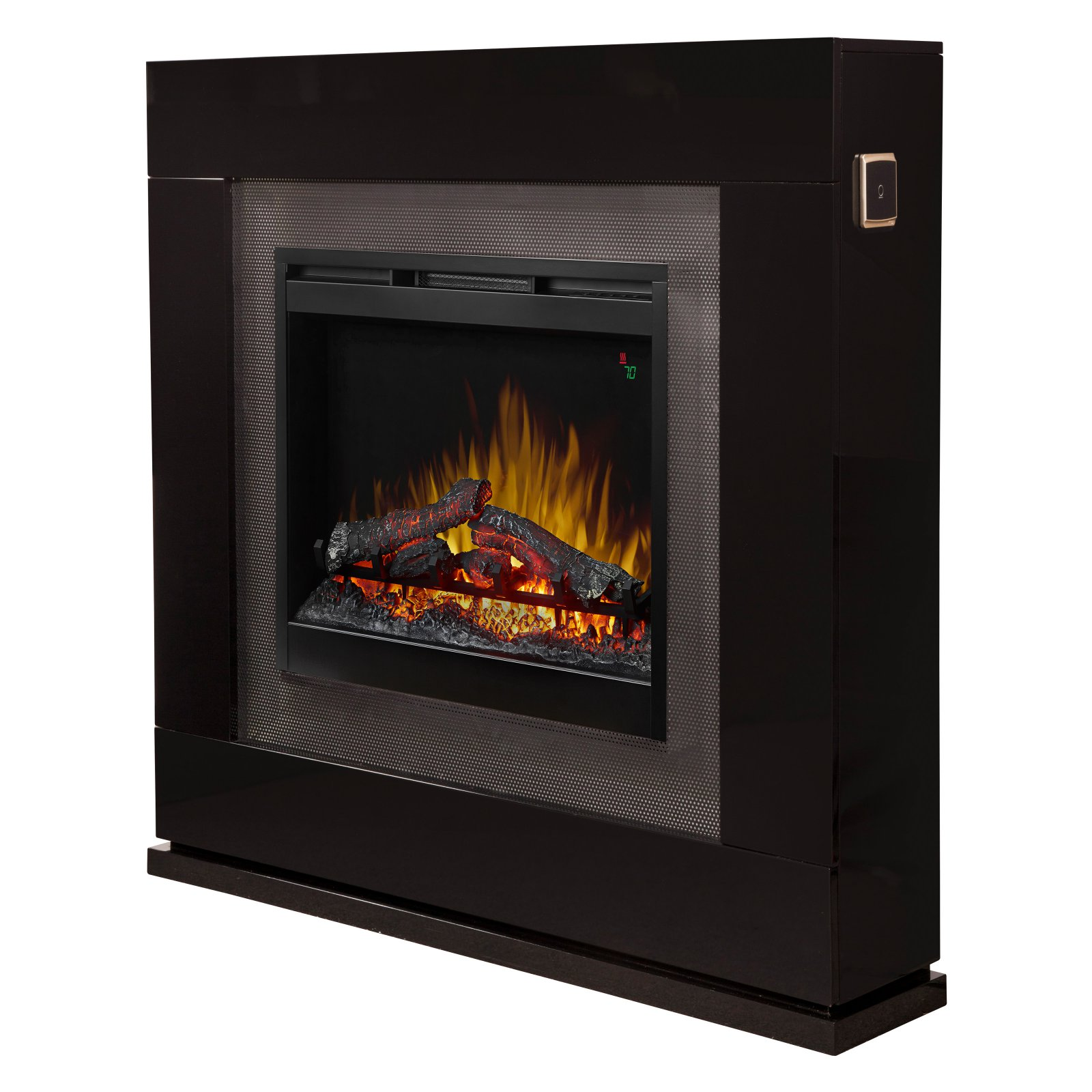 Dimplex Lukas Mantel Electric Fireplace With Logs, Black Gloss
