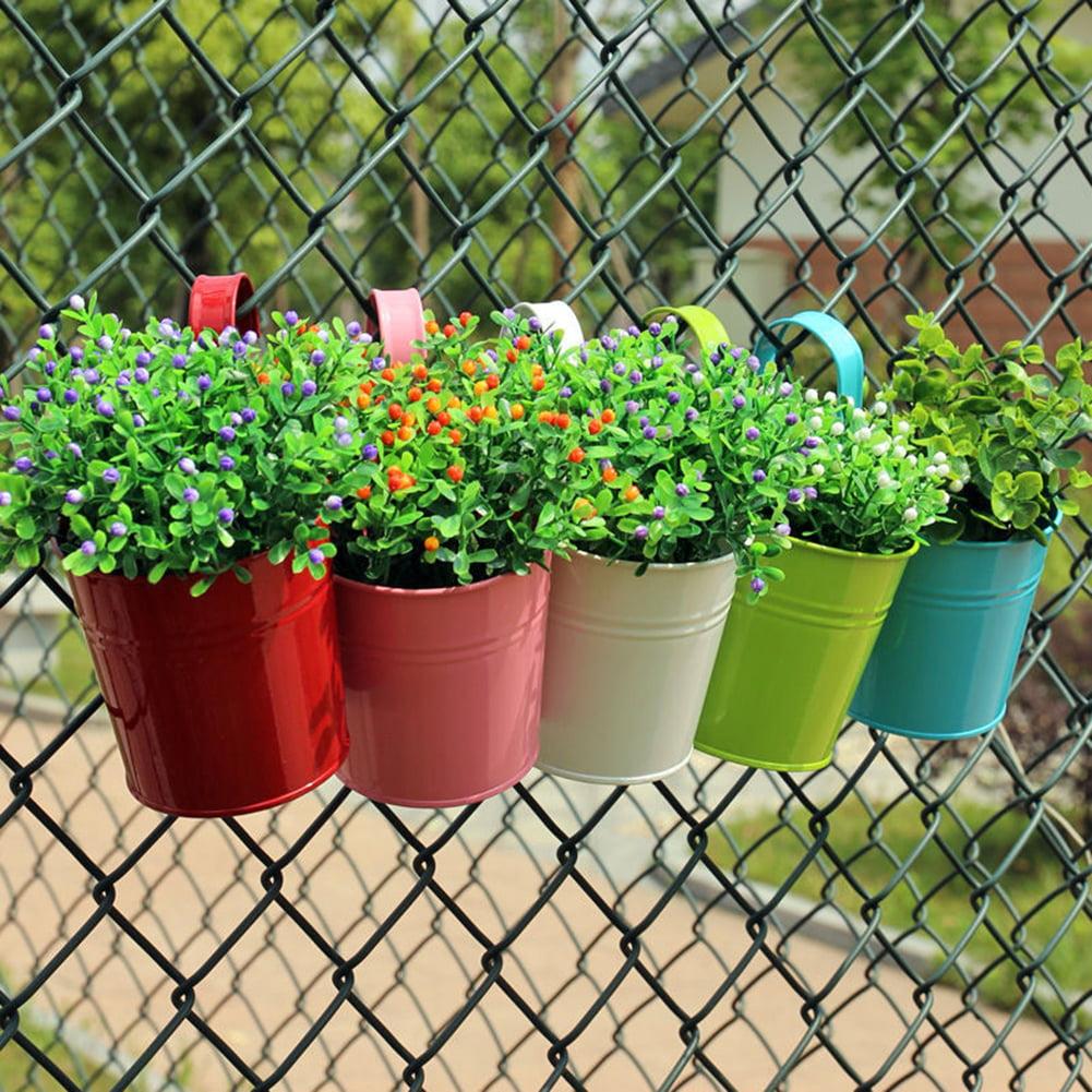 Girl12Queen Metal Iron Flower Pot Hanging Pastoral Balcony Garden Plant Planter Home Decor