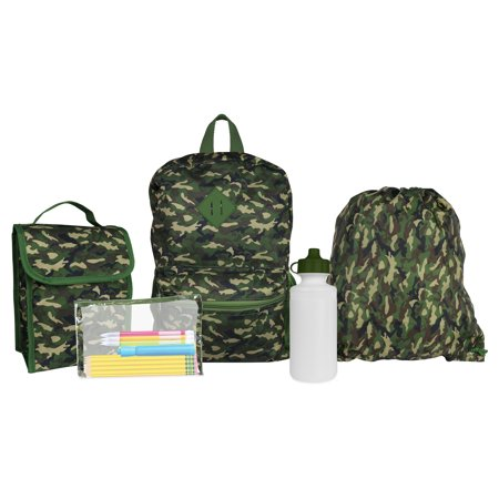 iPack Kids Camo 5 Piece Backpack Set with Lunch Bag, Waterbottle, Cinch bag and Pencil Case - Backpack With Lunchbox