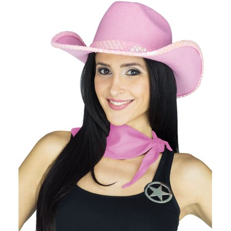 Adult's Womens Pink Sequin Western Cowgirl Outlaw Costume Accessory Kit - Western Outlaw Costume