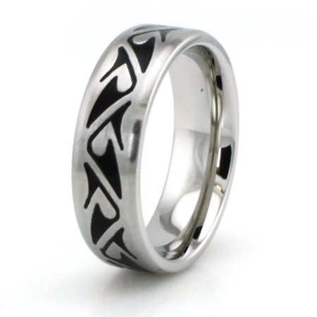 Stainless Steel Shark Fin Style Wedding Band (Find Style)