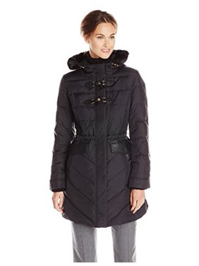 35444914dbe Product Image Via Spiga Women's Water Resistant Down Filled Coat with Faux  Fur Trim Hood, Black,