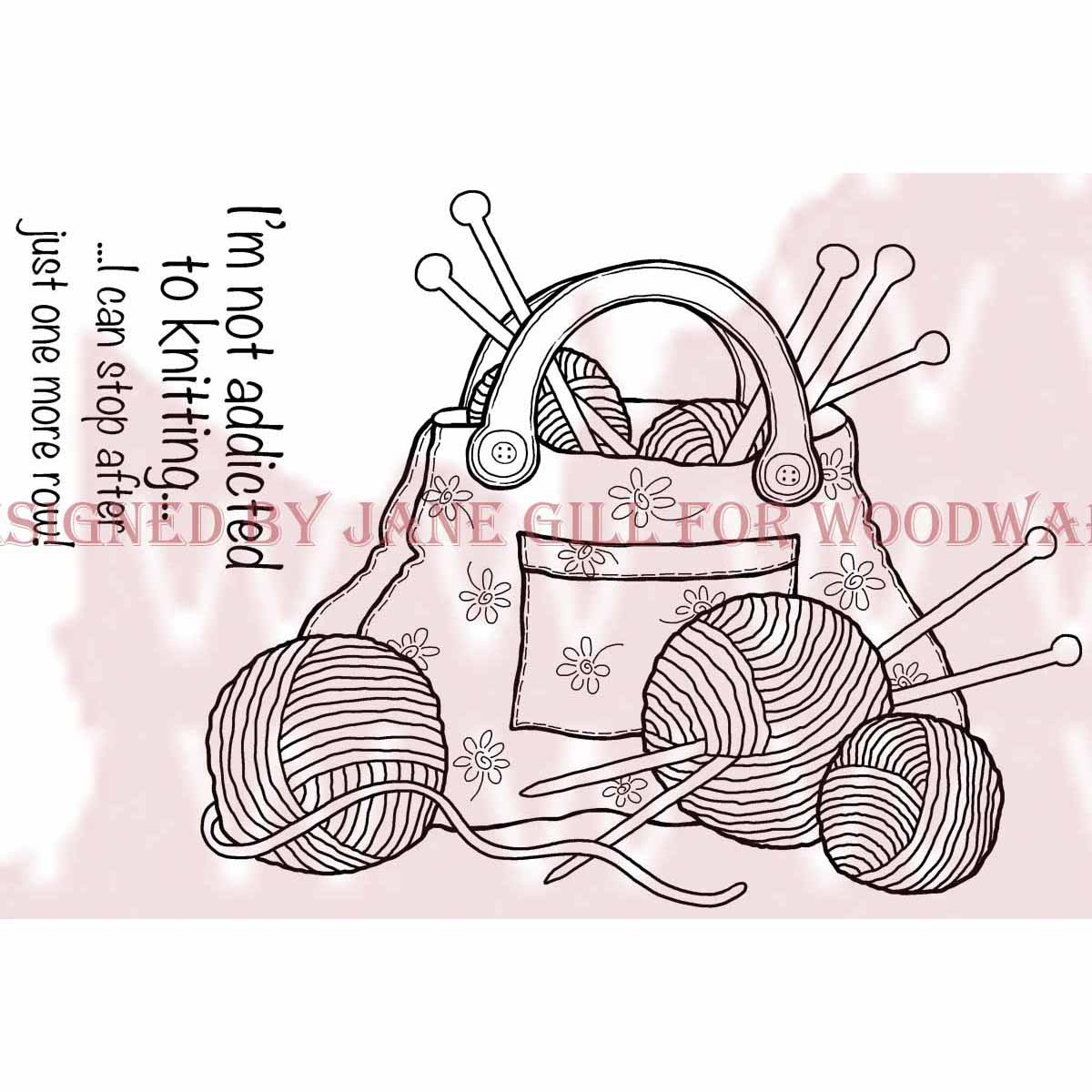 "Woodware Clear Stamps 3.5""X5.5""-Knitting Bag"