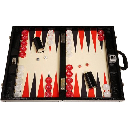 Wycliffe Brothers Tournament Backgammon Set, Black Croco with Cream Field, Gen III